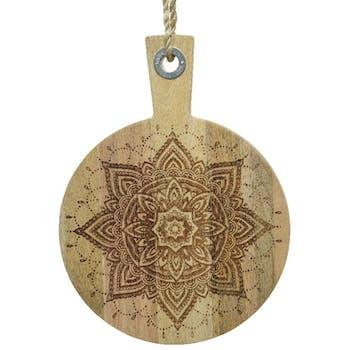 Planche à découper en bois de manguier motif mandala