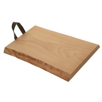 Planche à découper en bois de hêtre avec poignée simili