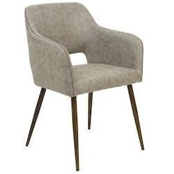 Chaise fauteuil en tissu gris façon simili