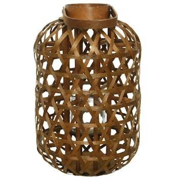 Lanterne ajourée en bois marron