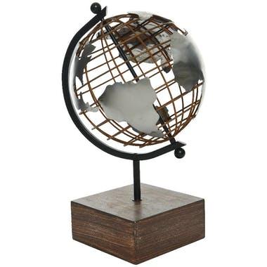 Globe en métal sur pied bois