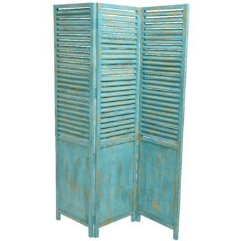 Paravent 3 volets turquoise vieilli en bois de manguier