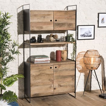 Bibliothèque étagère bois recyclé pin CRACOVIE