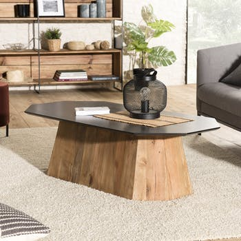 Table basse bois recyclé pin forme octogone CRACOVIE