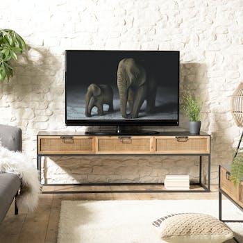 Meuble tv métal et cannage BILBAO