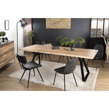 Table à manger contemporaine chêne acier 230x100 PANAMA