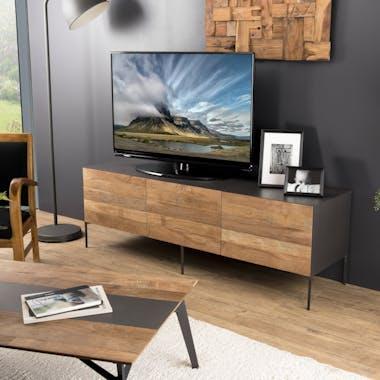 Meuble tv moderne teck recyclé 2 portes PANAMA
