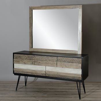 Miroir mural rectangulaire bois