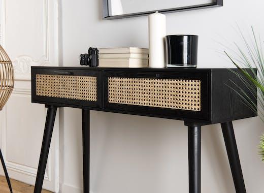 Console bois noir tiroirs cannage PALMA 2
