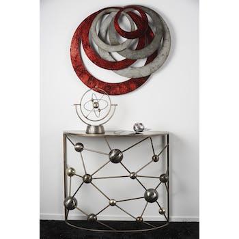Décoration murale abstraite anneaux rouges et argent