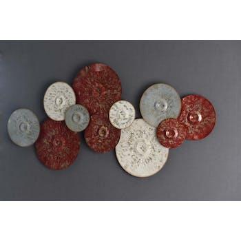 Décoration murale métal disques 3 couleurs effet vieilli