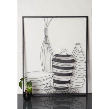 Tableau en métal noir vases stylisés