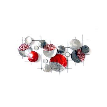 Décoration murale abstraite disques rouges gris sur canevas