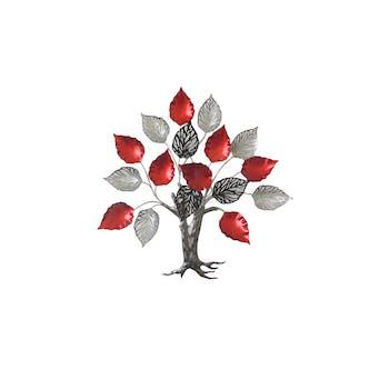Décoration murale métal arbre de vie rouge gris