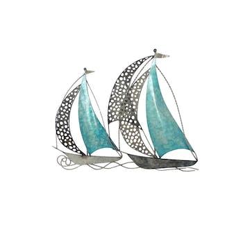 Décoration murale en métal 2 bateaux bleus