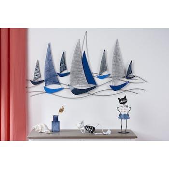 Décoration murale en métal régate teinte bleue