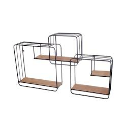 Etagère décorative métal bois 3 cadres CAIRNS