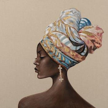 Tableau de femme africaine coiffe colorée