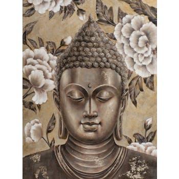Tableau de bouddha entouré de fleurs