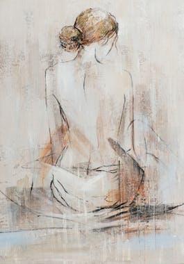 Tableau de femme assise nue de dos
