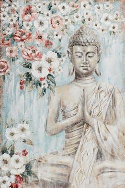 Tableau de Bouddha fond fleuri