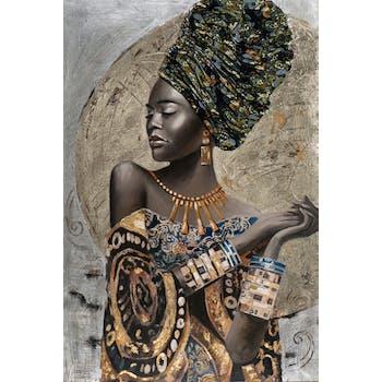 Tableau de femme africaine coiffe, bijoux et robe traditionnelle