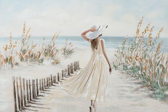 Tableau bord de mer avec jeune femme