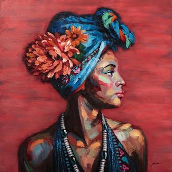 Tableau de femme africaine avec fleur rouge
