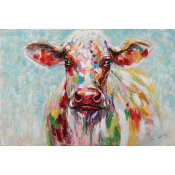 Tableau pop art vache de face