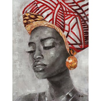 Tableau de femme africaine coiffe rouge