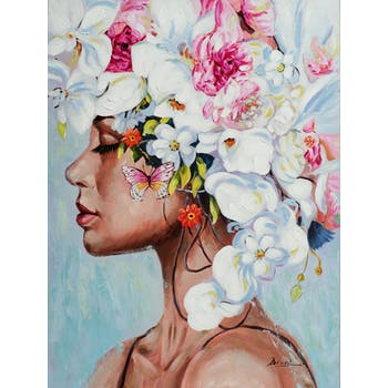 Tableau de femme avec coiffe fond bleu
