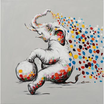 Tableau pop art éléphant et nuée de taches