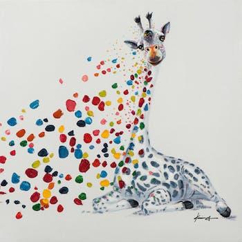 Tableau pop art girafe et nuée de taches