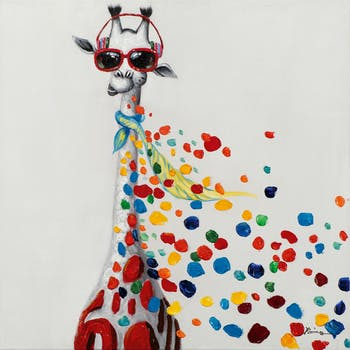 Tableau pop art girafe avec casque audio