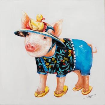 Tableau pop art chien en tongs
