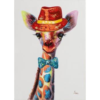 Tableau pop art girafe, chapeau, nœud papillon