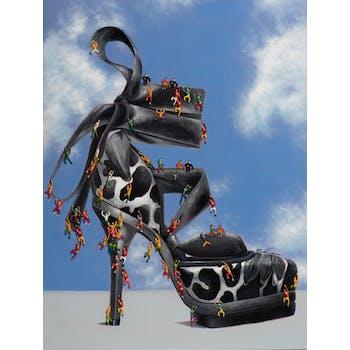 Tableau pop art chaussure talon aiguille