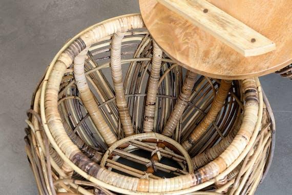 Table basse de salon ronde en rotin avec couvercle amovible (lot de 2)