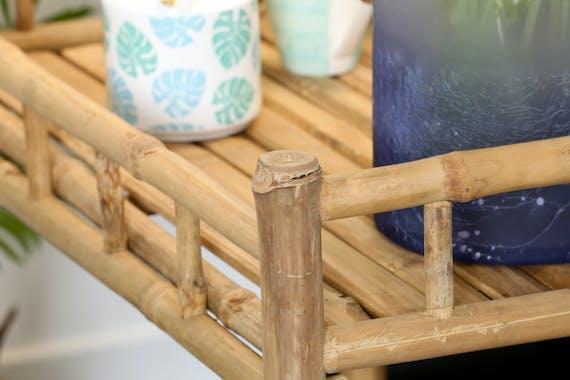Desserte à roulettes en bambou