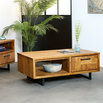 Table basse en teck 2 tiroirs BALI