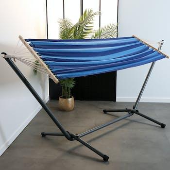 Hamac en coton à rayures bleues 80x200cm