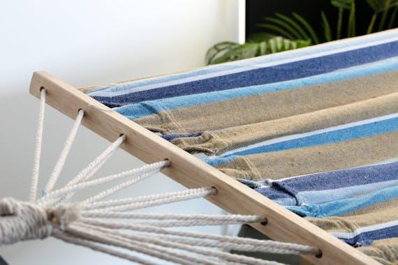 Hamac en coton à rayures bleues et beiges 80x200cm