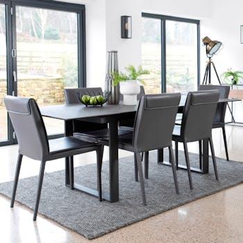 Table céramique extensible gris foncé 176 cm-216 cm TORONTO