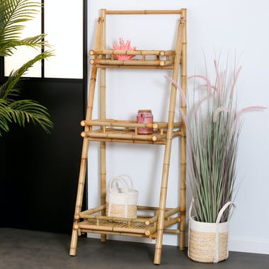 Meuble escalier 3 étages en bambou 145 cm