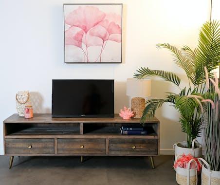 Banc tv 3 tiroirs bois recyclé piètement effet laiton vieilli ADÉLAÏDE