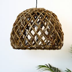 Suspension abat-jour cloche marron D 44 cm