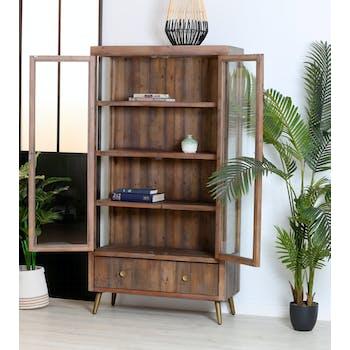 Bibliothèque vitrine bois recyclé piètement effet laiton vieilli ADÉLAÏDE