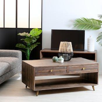 Table basse double plateau bois recyclé piètement effet laiton vieilli ADÉLAÏDE