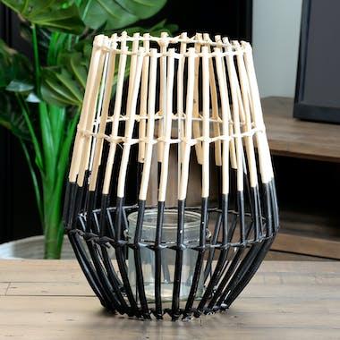 Lanterne / Photophore forme Trapèze en osier ajouré bi-tons noir et naturel D27xH34cm