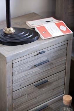 Table de chevet en bois recyclé grisé SIENNE